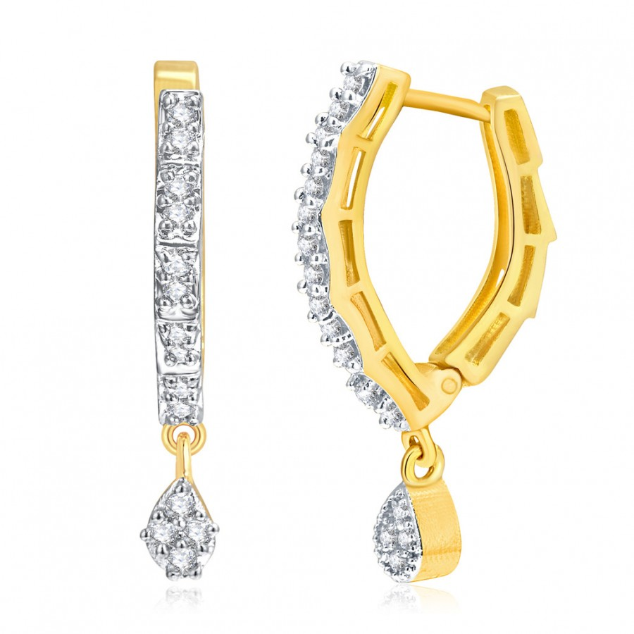 Buy Pissara Marvellous Gold And Rhodium Plated CZ Hoops For Women Online