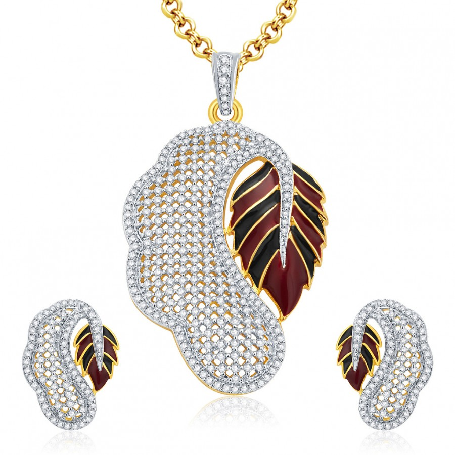 Buy Pissara Poignant Gold And Rhodium Plated CZ Pendant Set For Women Online