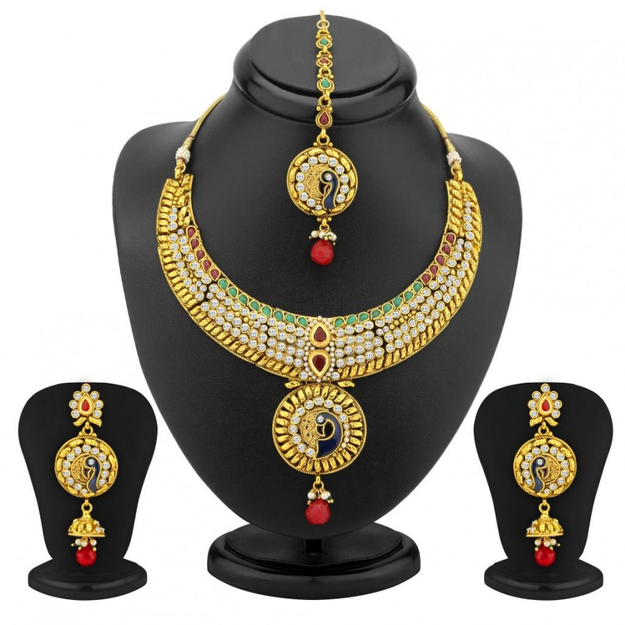Buy Sukkhi Creative Gold Plated AD Peacock Antique Necklace Set Online