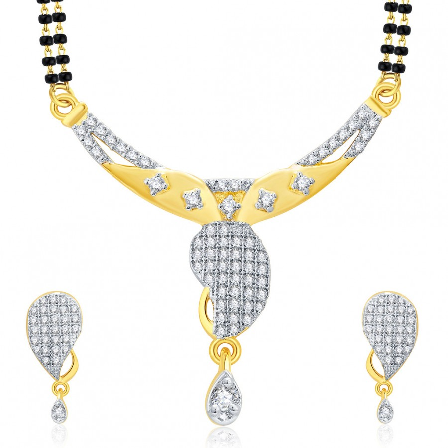 Buy Pissara Joyous Gold And Rhodium Plated CZ Mangalasutra Set For Women Online