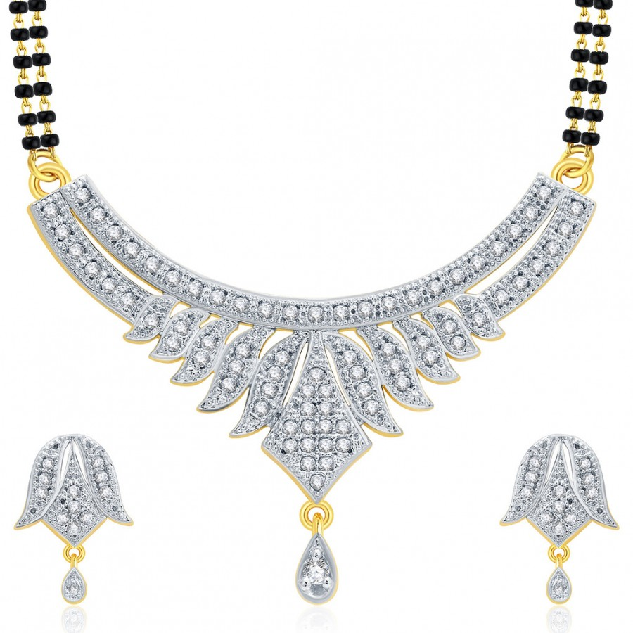 Buy Pissara Sophisticated Gold And Rhodium Plated CZ Mangalasutra Set For Women Online