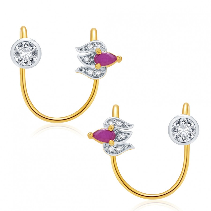 Buy Pissara Luminous Gold And Rhodium Plated Ruby CZ Earcuff For Women Online