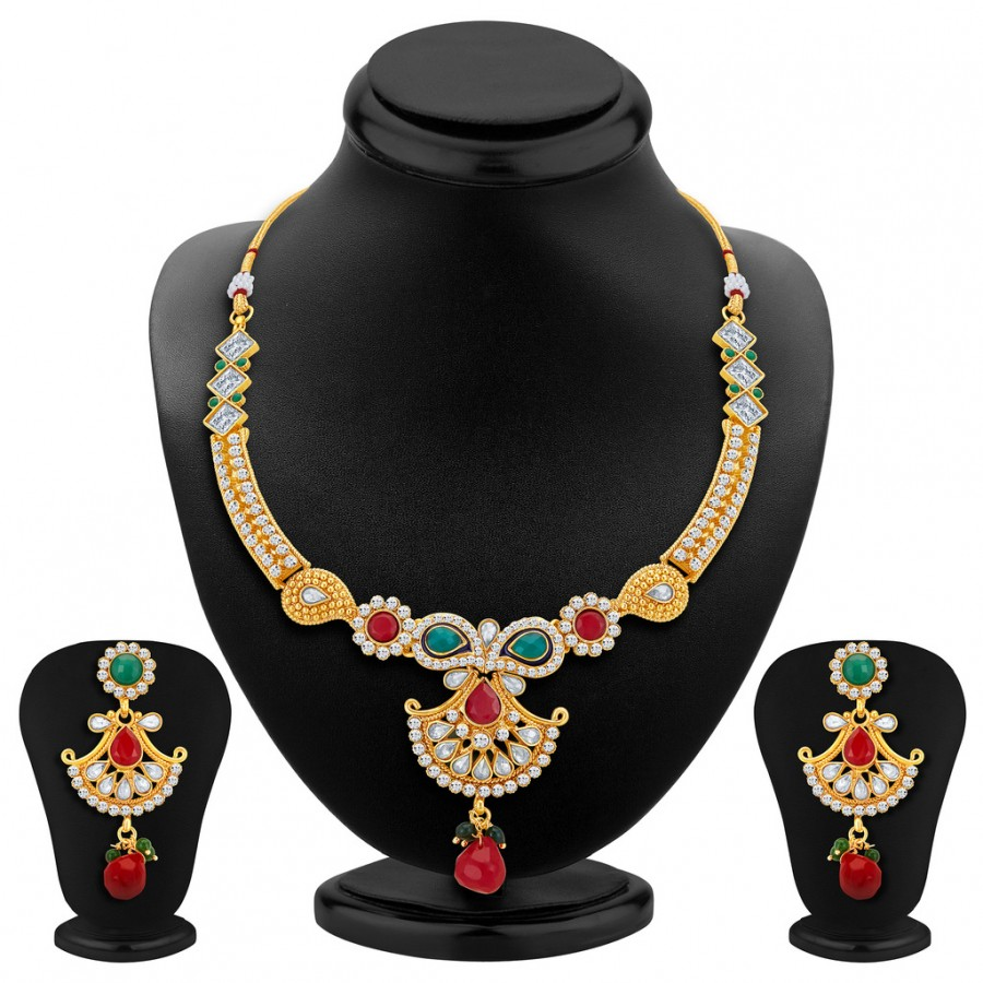 Buy Sukkhi Delightly Gold Plated Necklace Set Online