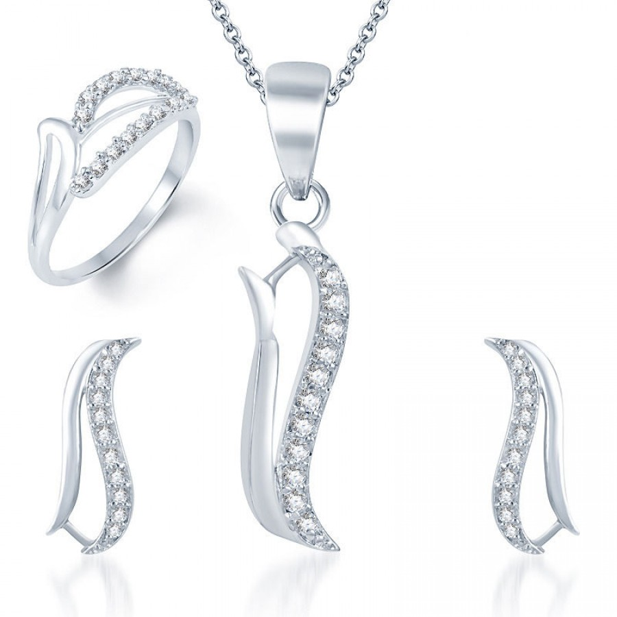 Buy Pissara Alluring Rhodium Plated CZ Pandent Set and Ring Combo Online