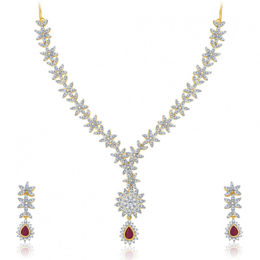 Buy Pissara Winsome Gold And Rhodium Plated Ruby CZ Neklace Set For Women Online