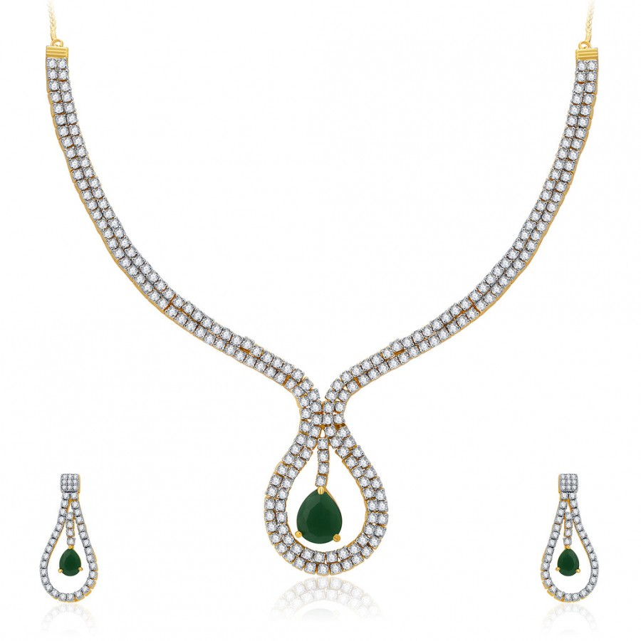 Buy Pissara Sublime Gold And Rhodium Plated CZ Neklace Set For Women Online