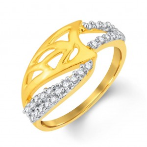 Buy Pissara Fashionable Gold and Rhodium Plated Cubic Zirconia Ring Online