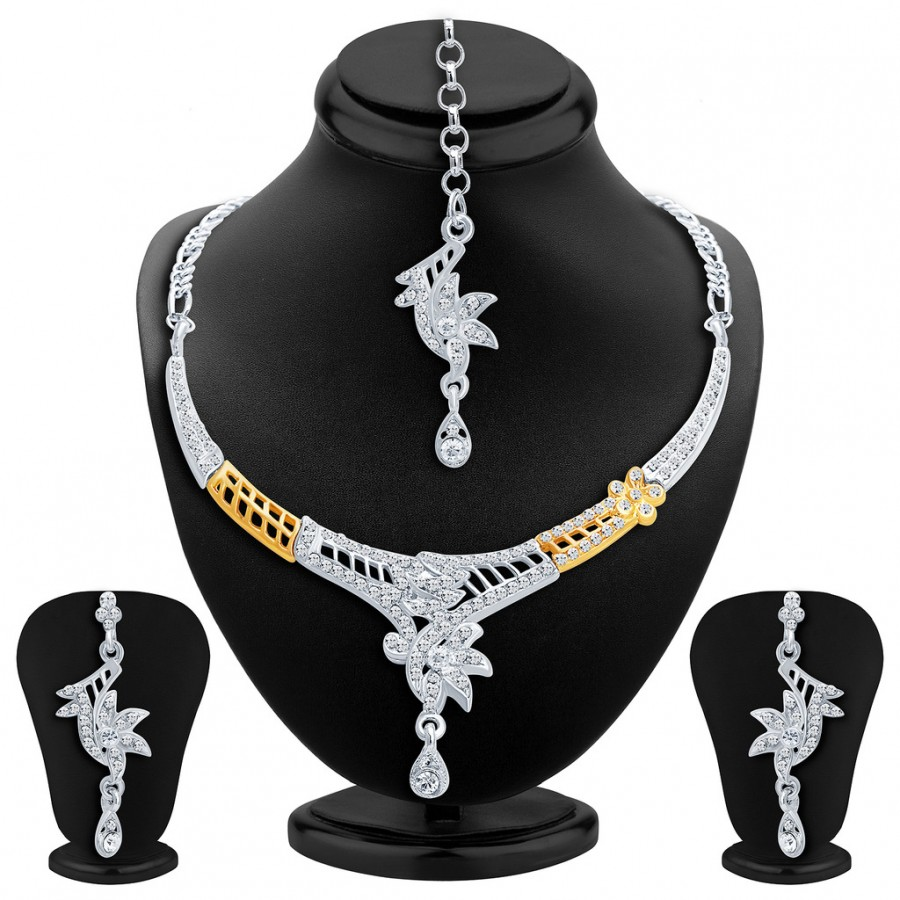 Buy Sukkhi Glittery Gold and Rhodium Plated AD Necklace Set Online