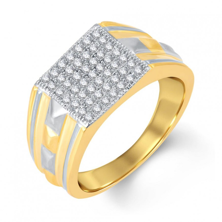 Buy Pissara Exotic Gold and Rhodium Plated Cubic Zirconia Ring For Men Online