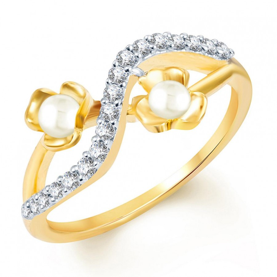 Buy Pissara Exotic Gold and Rhodium Plated Cubic Zirconia and Moti Ring Online