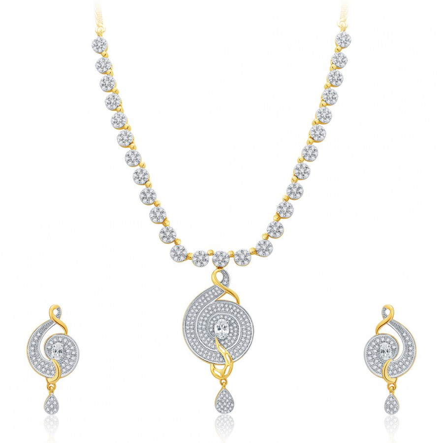 Buy Pissara Extravagant Gold And Rhodium Plated CZ Neklace Set For Women Online