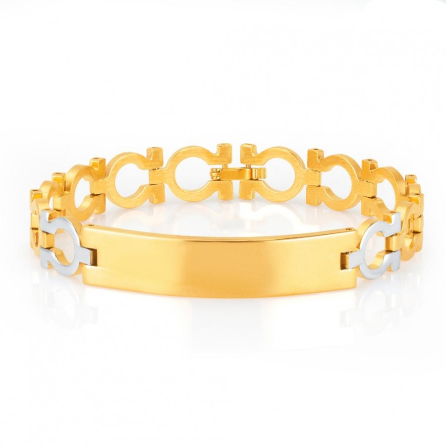 Buy Sukkhi Glittery Gold and Rhodium Plated Bracelet For Men Online