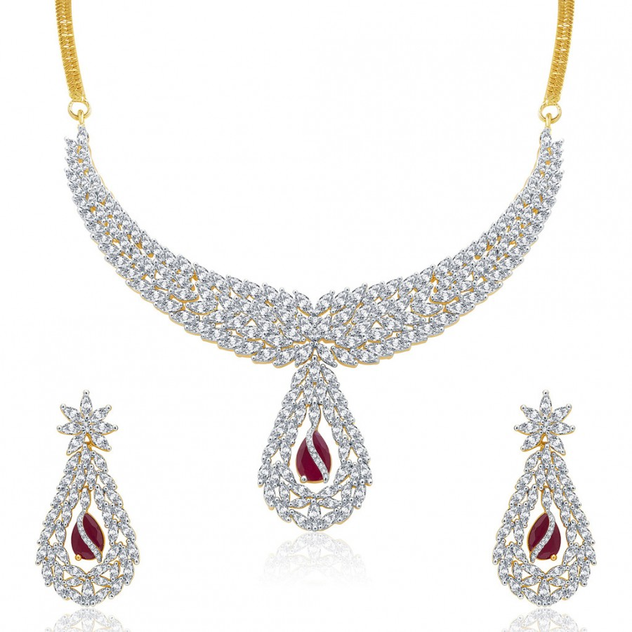Buy Pissara Lavish Gold And Rhodium Plated Ruby CZ Neklace Set For Women Online