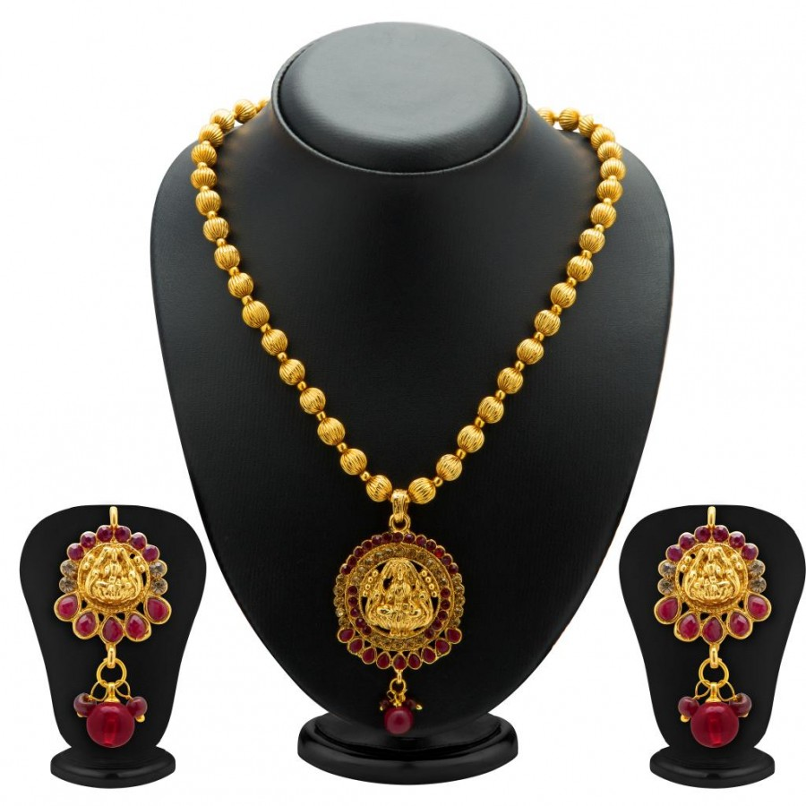 Buy Sukkhi Bewitching Gold Plated Temple Jewellery Necklace Set for Women Online
