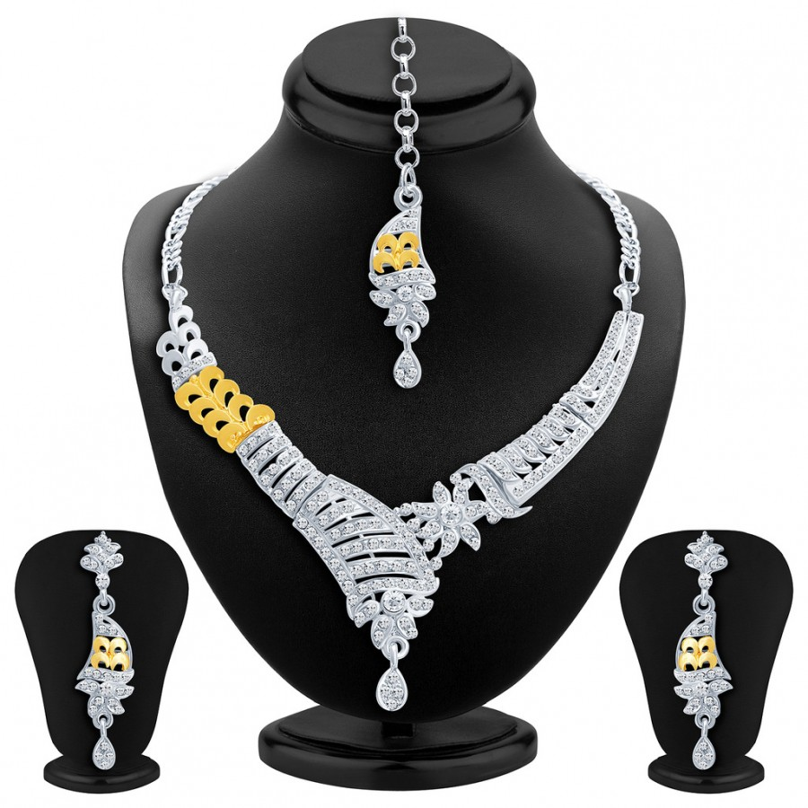 Buy Sukkhi Glistening Gold and Rhodium Plated AD Necklace Set Online