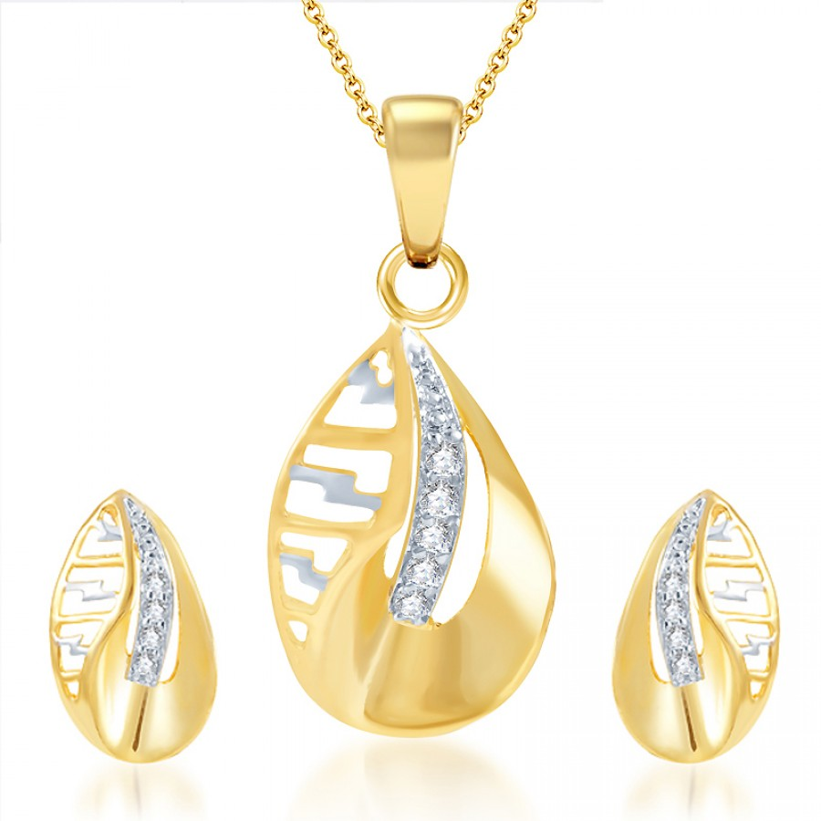 Buy Pissara Youthful Gold and Rhodium Plated CZ Pendant Set Online