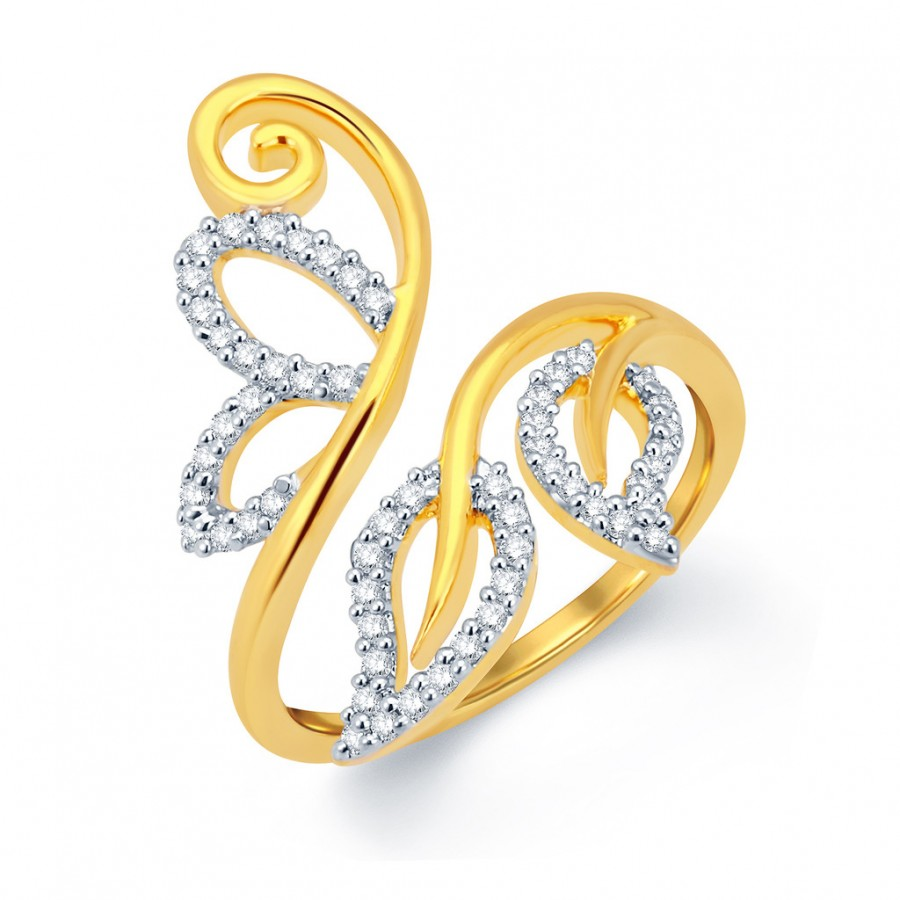 Buy Pissara Gorgeous Leafy Gold and Rhodium Plated CZ Ring Online