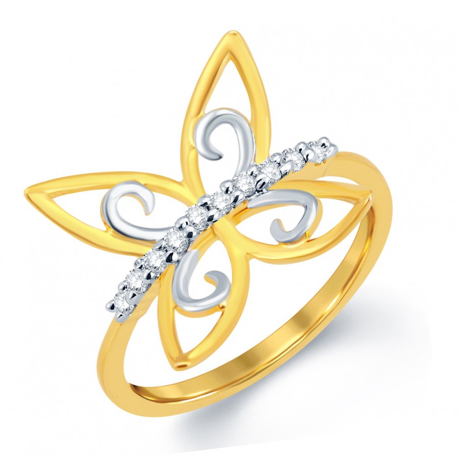 Buy Pissara Butterfly Gold and Rhodium Plated CZ Ring Online
