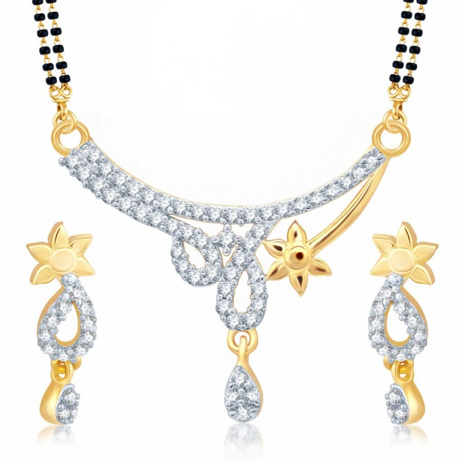 Buy Pissara Moddish Gold and Rhodium Plated Cubic Zirconia Stone Studded Mangalsutra Set Online