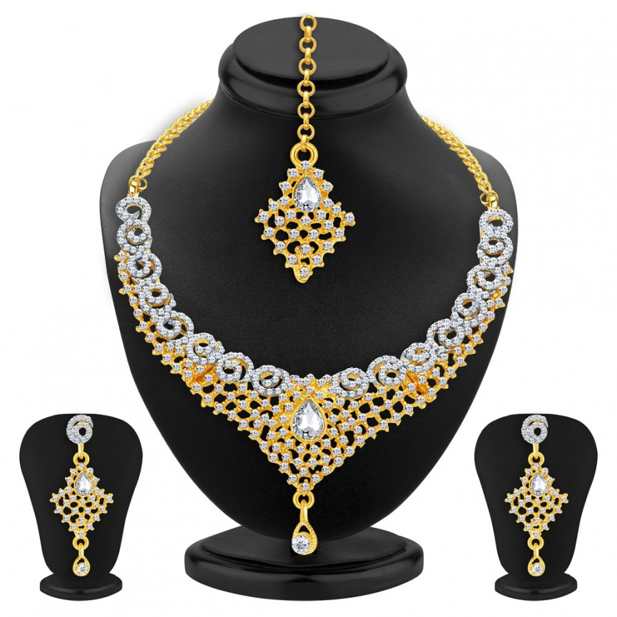 Buy Sukkhi Astonish Gold & Rhodium Plated AD Necklace Set For Women Online