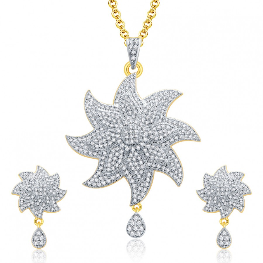 Buy Pissara Preppy Gold And Rhodium Plated CZ Pendant Set For Women Online