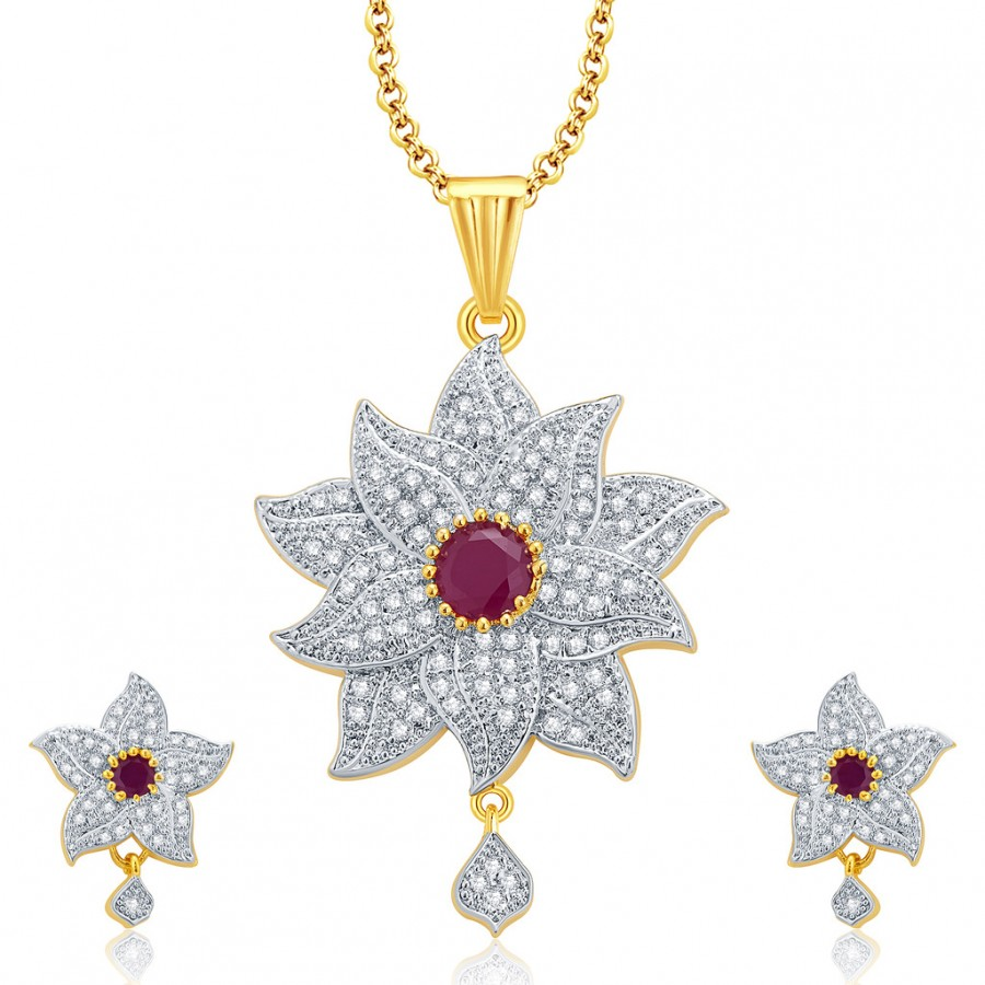 Buy Pissara Floral Gold And Rhodium Plated Ruby CZ Pendant Set For Women Online