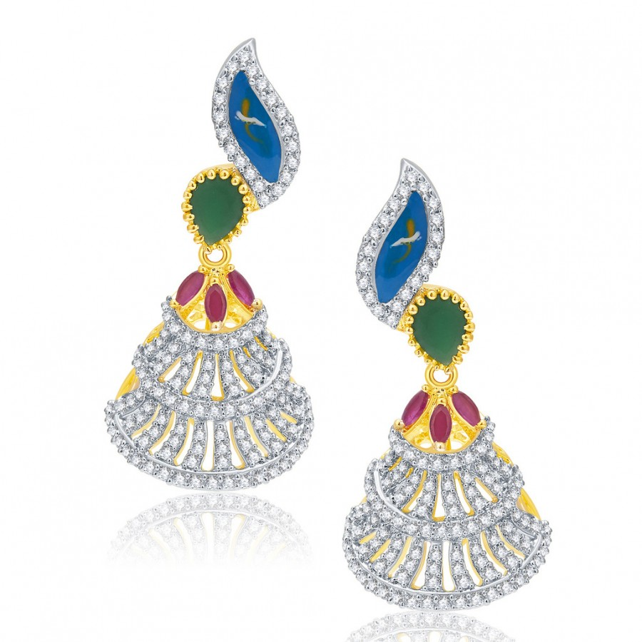 Buy Pissara Burnished Gold And Rhodium Plated Ruby CZ Earrings For Women Online