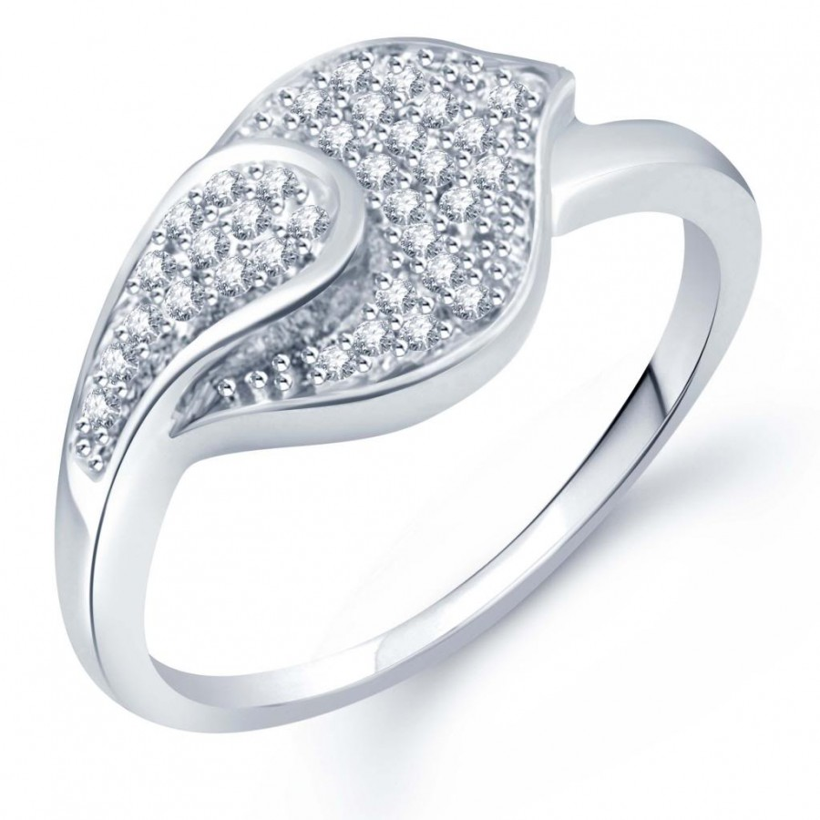 Buy Pissara Moddish Micro Pave Setting Rhodium Plated CZ Ring for Women(330R510) Online
