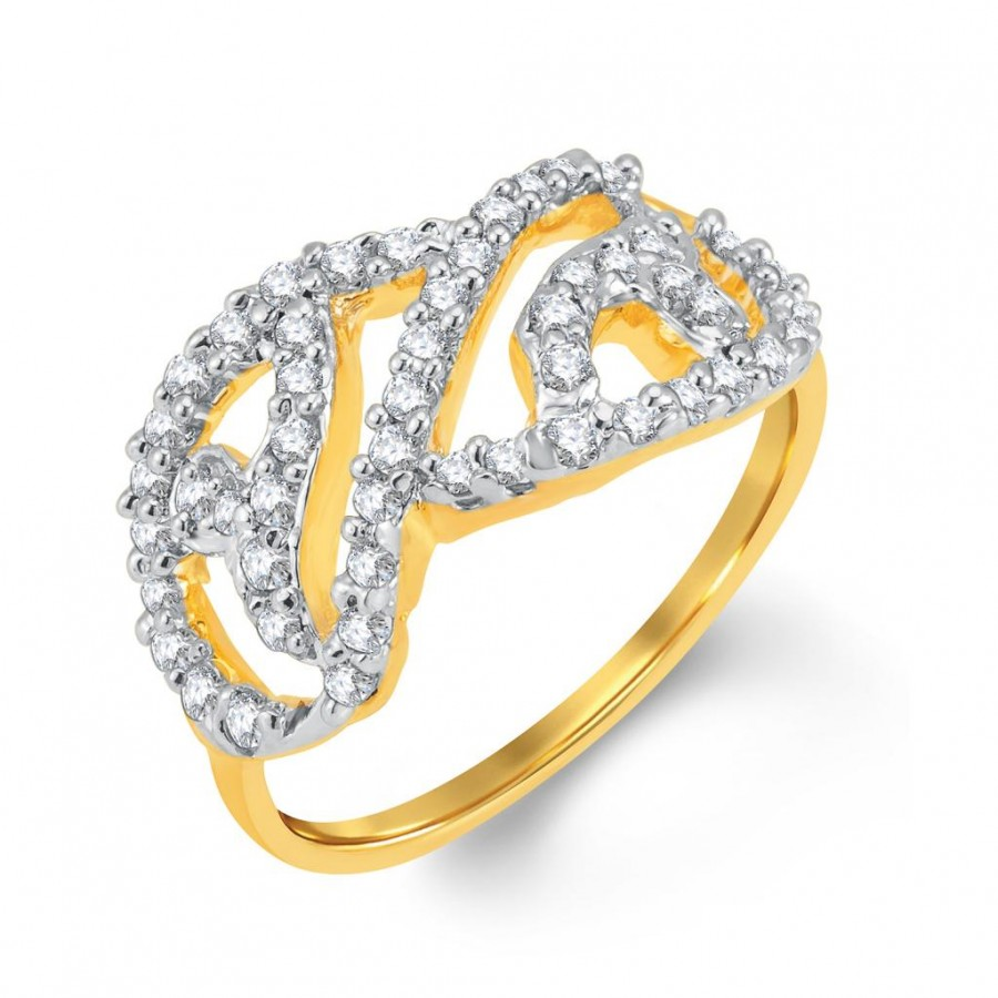 Buy Pissara Gleaming Gold and Rhodium Plated Cubic Zirconia Ring Online
