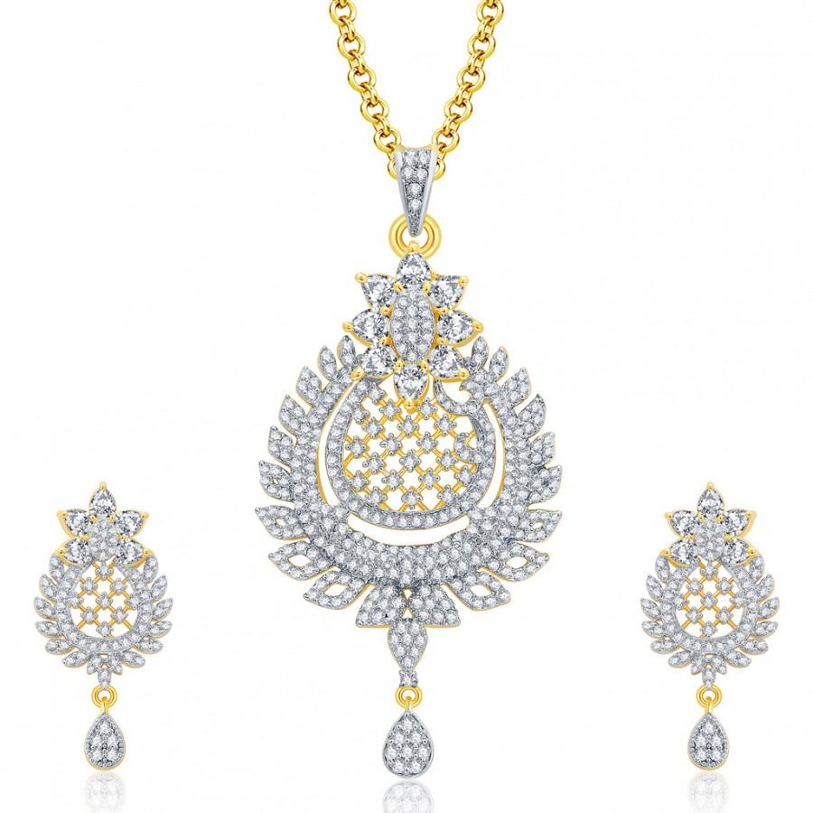 Buy Pissara Contemporary Gold And Rhodium Plated CZ Pendant Set For Women Online