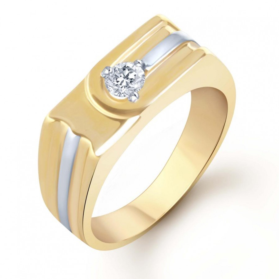 Buy Pissara Gold and Rhodium Plated Solitaire CZ Ring for Men(131GRK590) Online