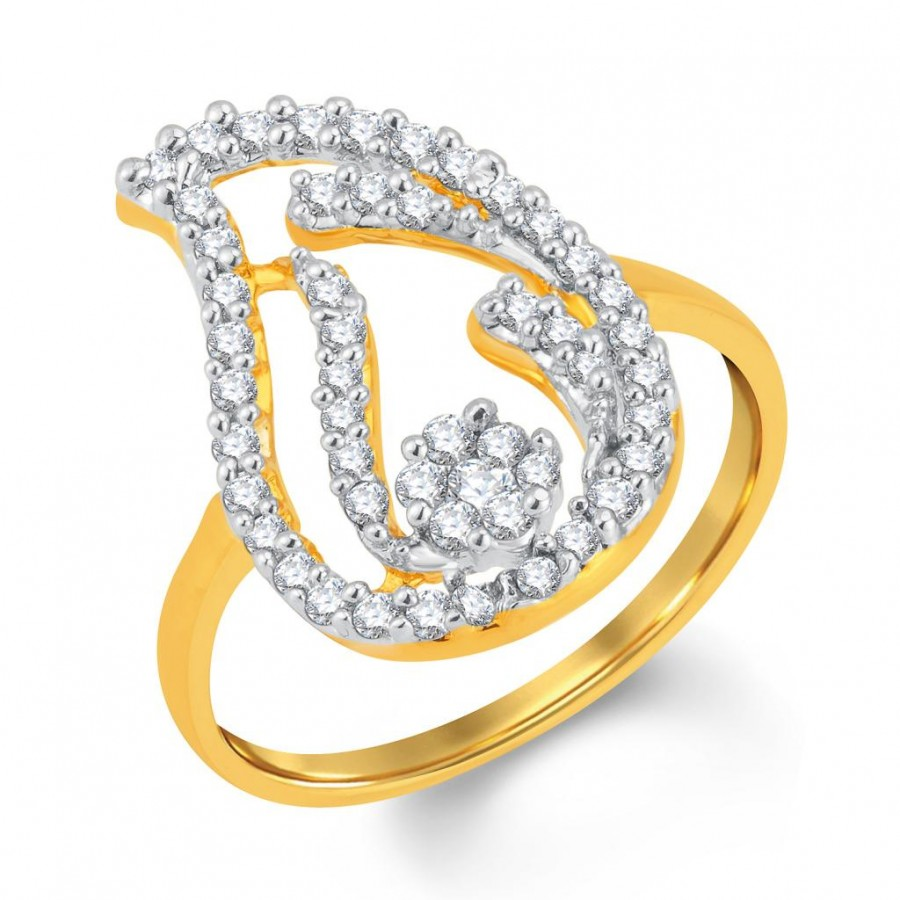 Buy Pissara Gorgeous Gold and Rhodium Plated Cubic Zirconia Ring Online