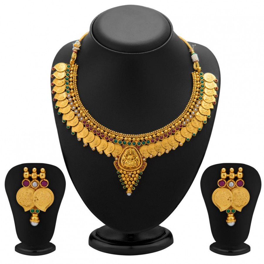 Buy Sukkhi Graceful Gold Plated Temple Jewellery Coin Necklace Set for Women Online