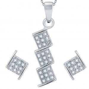 Buy Pissara Stylish Rhodium plated Micro Pave Setting CZ Pendant Set Online