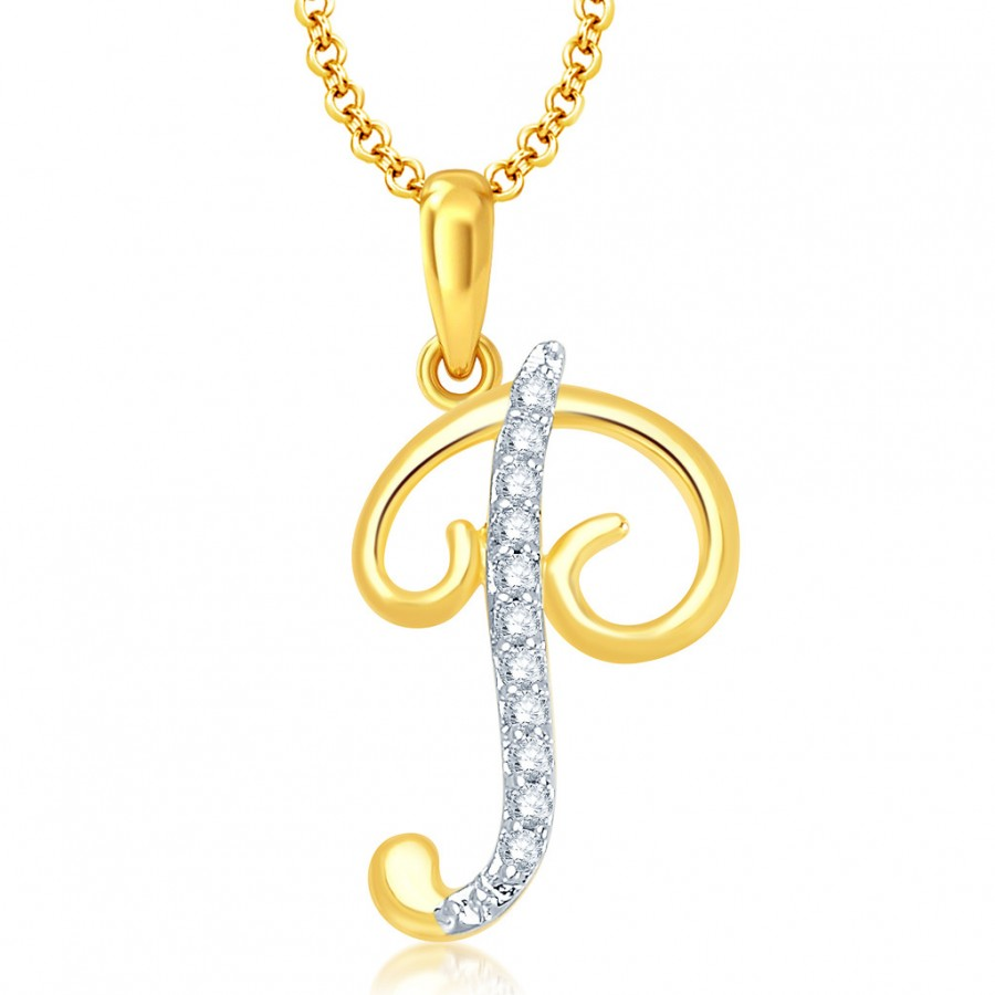 "Buy Pissara Letter"" P"" Gold and Rhodium Plated CZ Alphabet Pendant Online"