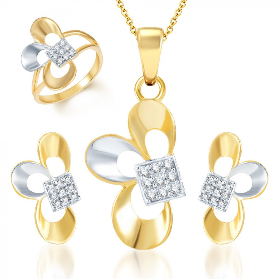 Buy Pissara Fine Design Gold and Rhodium Plated CZ Pendant Set and Ring Combo Online