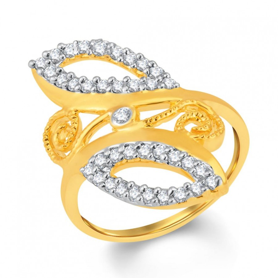 Buy Pissara Marvelous Gold and Rhodium Plated Cubic Zirconia Ring Online