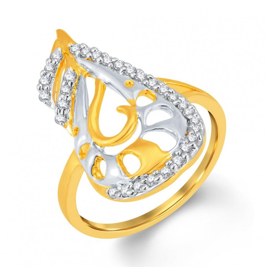 Buy Pissara Finely Gold and Rhodium Plated Cubic Zirconia Ring Online