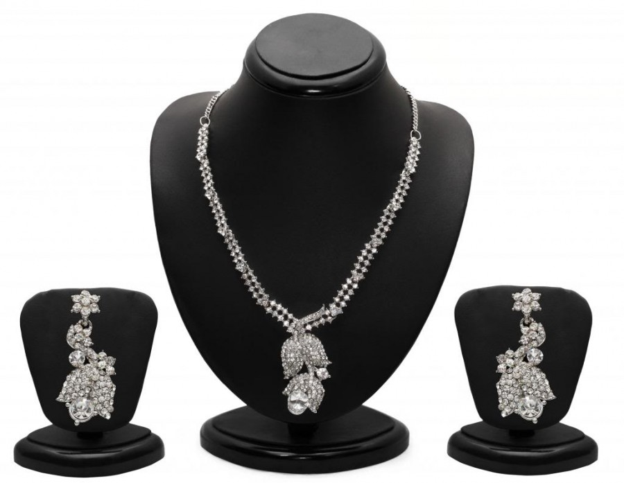 Buy Sukkhi Glittery Rhodium plated AD Stone Necklace Set Online