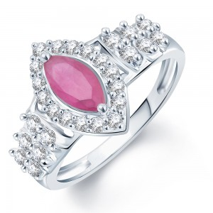 Buy Pissara Pleasing Rhodium Plated CZ Ruby Ring Online