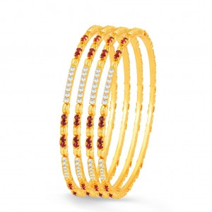 Buy Sukkhi Exotic Gold Plated Set OF 4 Australian Diamond Bangle Online