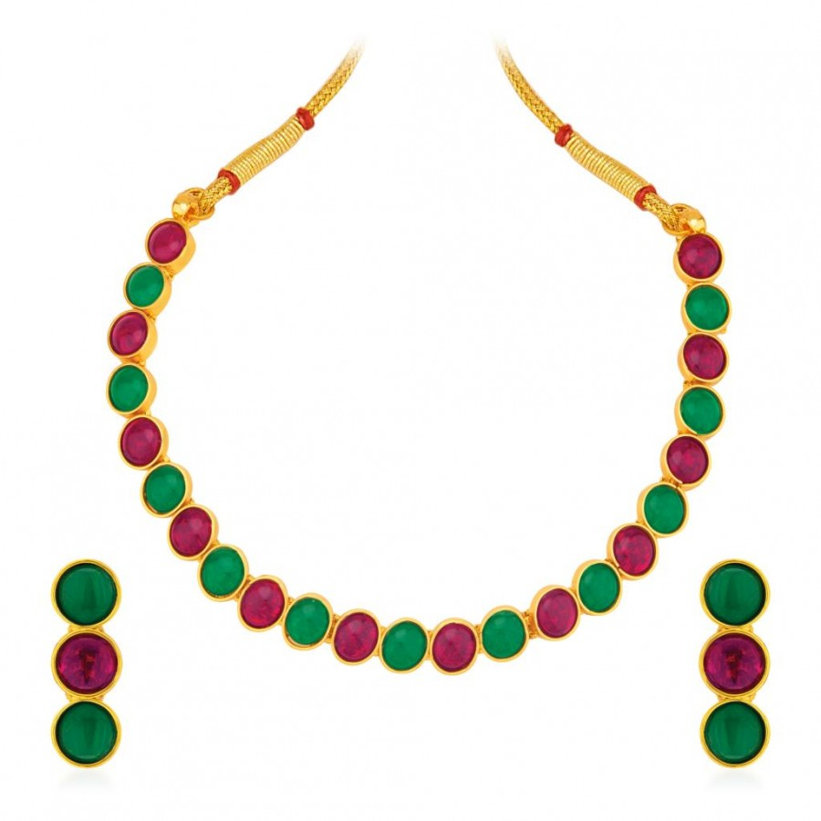 Buy Sukkhi Graceful Gold Plated Australian Diamond Necklace Set Online