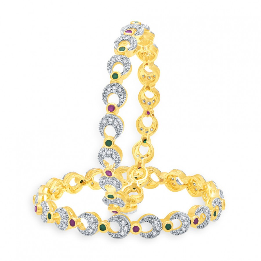 Buy Pissara Legendry Gold And Rhodium Plated Ruby CZ Bangles For Women Online