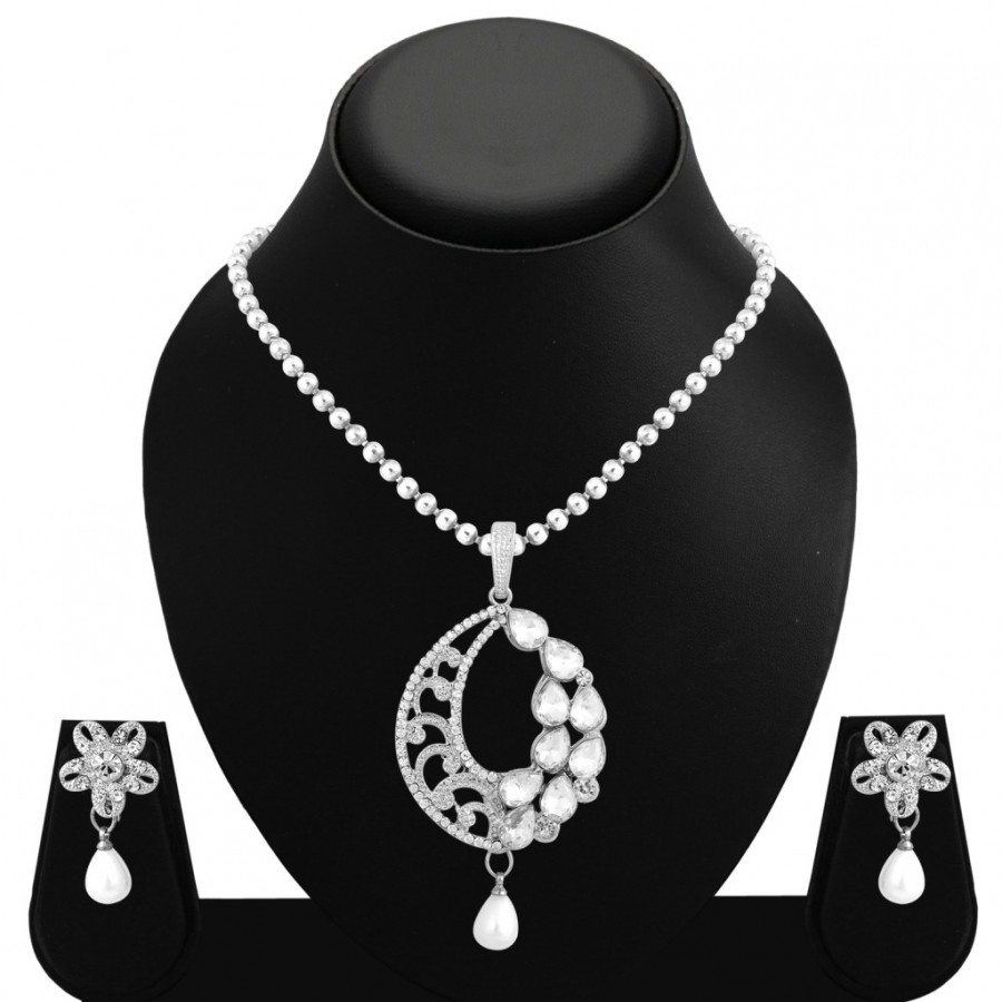 Buy Sukkhi Ethnic Rhodium Plated AD Pendant Set For Women Online