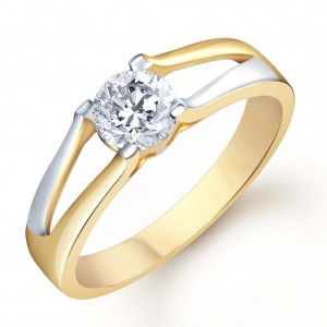 Buy Pissara Gold and Rhodium Plated Solitaire CZ Ring for Men(134GRK470) Online