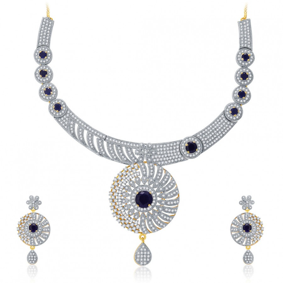 Buy Pissara Gleaming Gold And Rhodium Plated CZ Neklace Set For Women Online