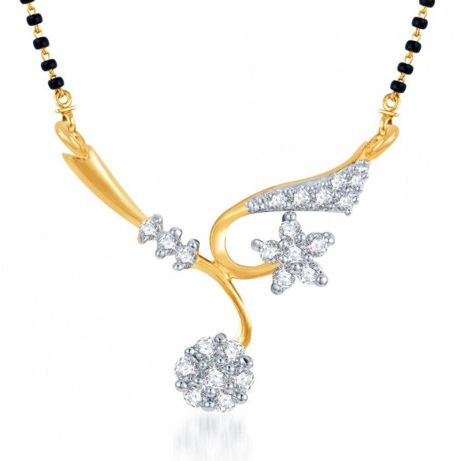Buy Pissara Elegant Wedding CZ Gold and Rhodium Plated Mangalsutra Pendant Online