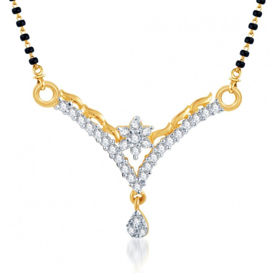 Buy Pissara Briliant CZ Gold and Rhodium Plated Mangalsutra Pendant Online