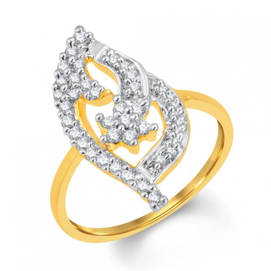 Buy Pissara Incredible Gold and Rhodium Plated Cubic Zirconia Ring Online