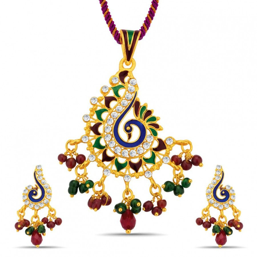 Buy Sukkhi Finely Gold Plated Australian Diamond Pendant Set Online